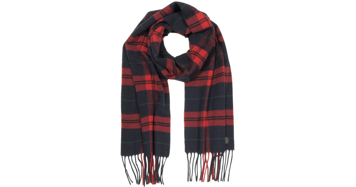 9ceaeee83 DSquared² Red/navy Blue Checked Wool And Cashmere Men's Scarf W/fringes in  Red for Men - Lyst