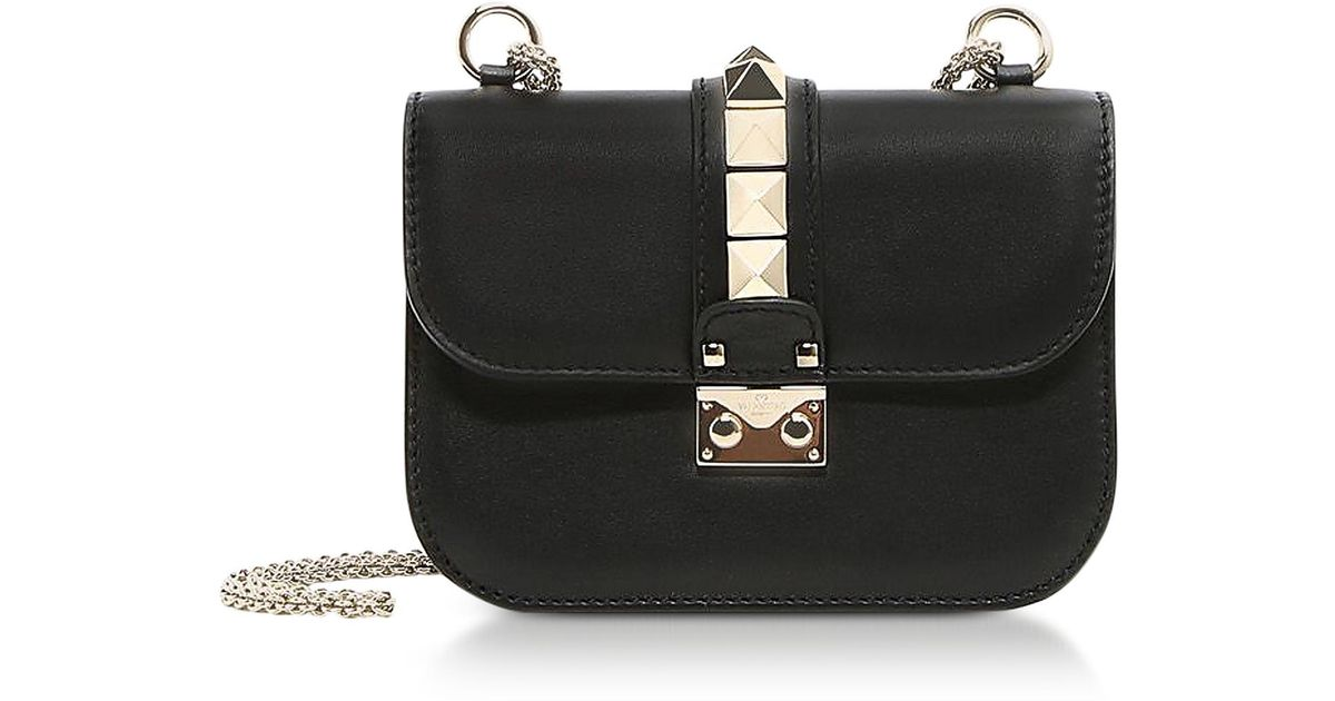 447dc545274 Valentino Lock Small Black Leather Chain Shoulder Bag in Black - Lyst