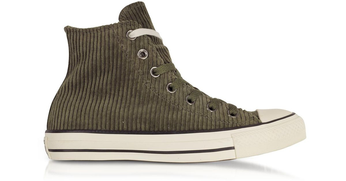 c1eb0d63dc5a Lyst - Converse Chuck Taylor All Star Hi Military Green Corduroy High Top  Sneakers in Green for Men