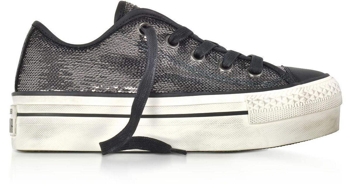 06480a4aebb2 Lyst - Converse Chuck Taylor All Star High Distressed Flatform Ox Thunder    Black Sequins Sneakers in Black