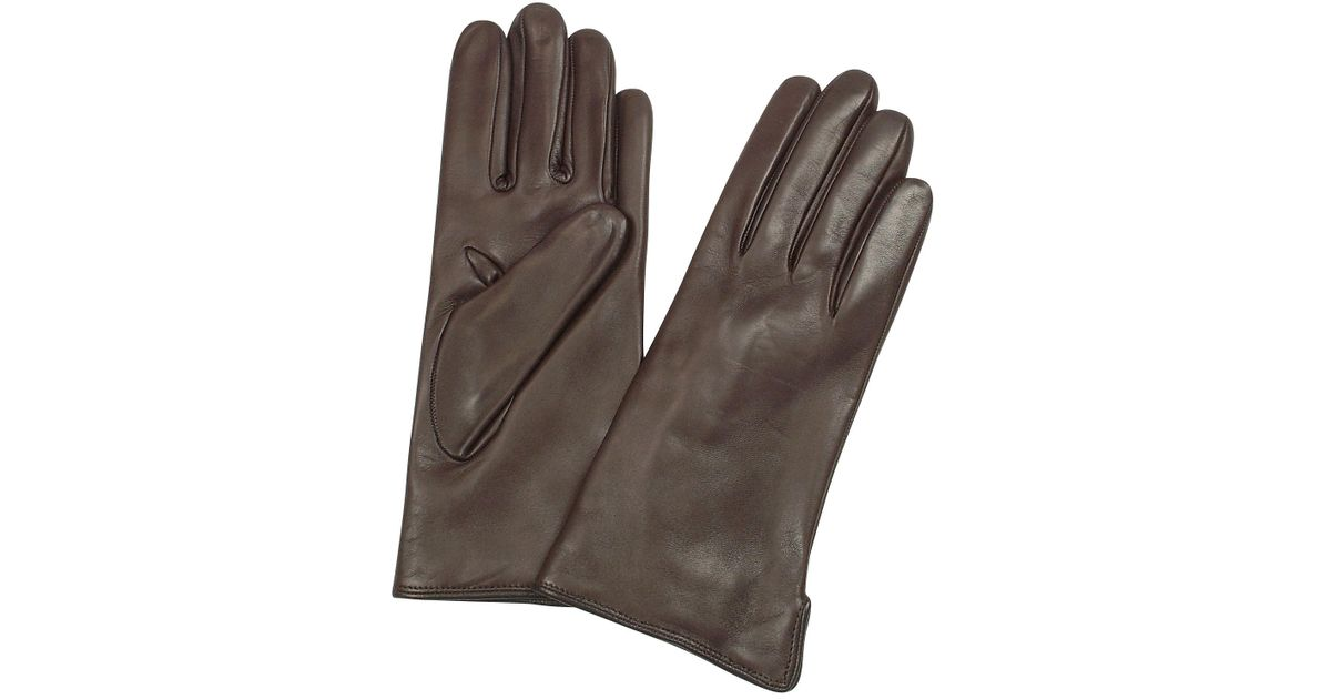 4e68575d53ec Forzieri Women S Dark Brown Cashmere Lined Italian Leather Gloves In