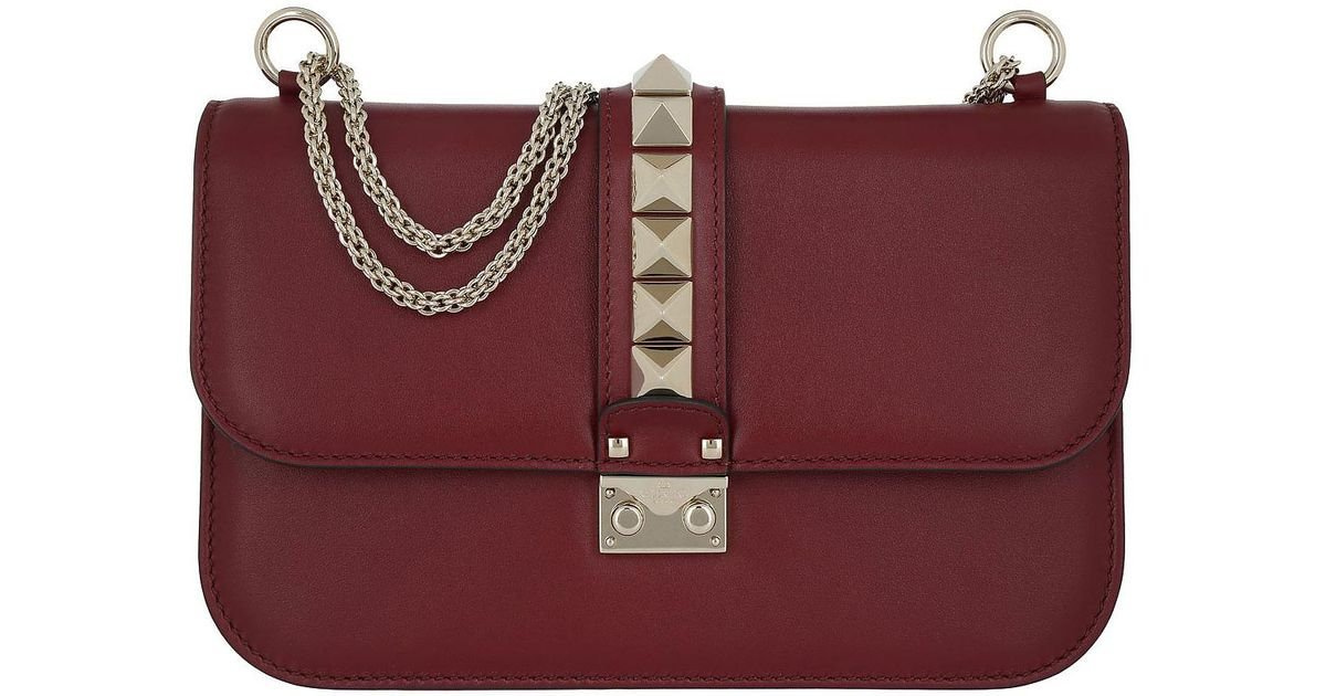 e6b74420597dc Lyst - Valentino Rockstud Lock Crossbody Medium Rubino in Red