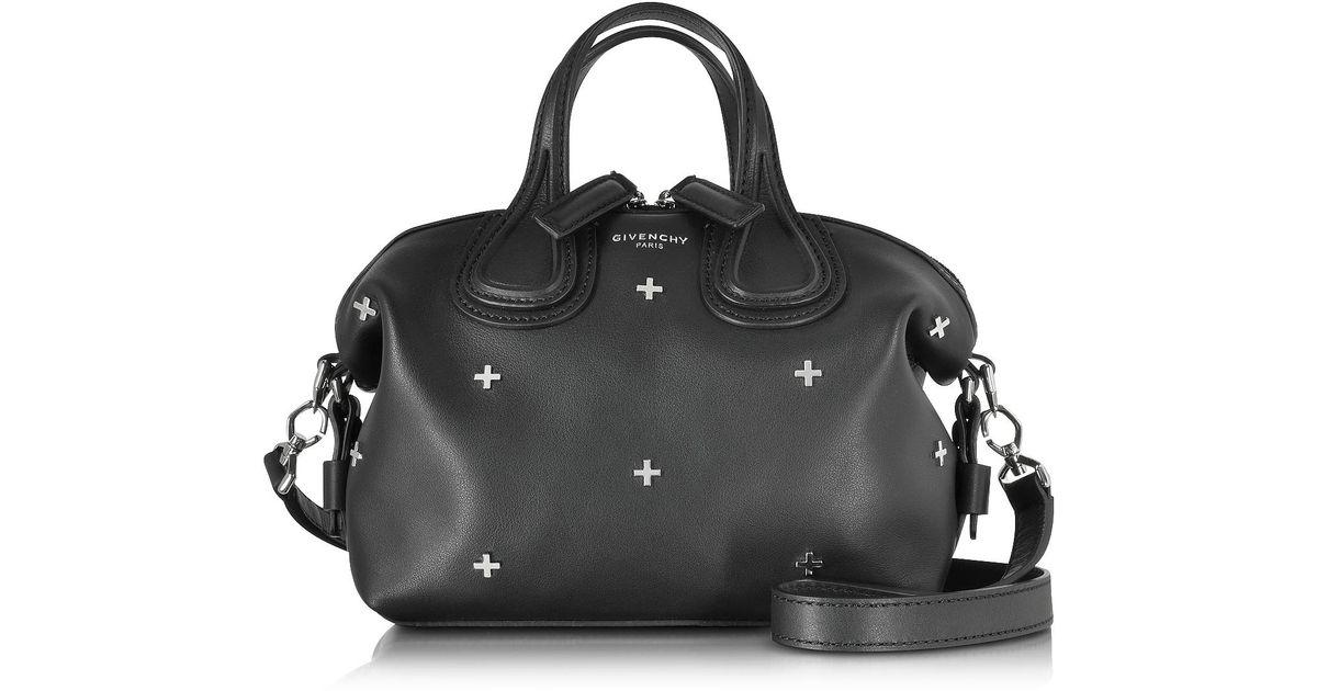 24eb7193b743 Lyst - Givenchy Nightingale Micro Black Leather Satchel Bag W metal Cross  in Black