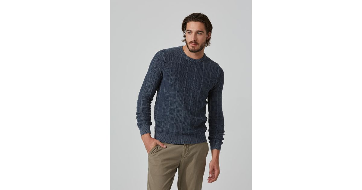 Frank and oak Stone Washed Cotton Crewneck Sweater In Navy in Blue ...