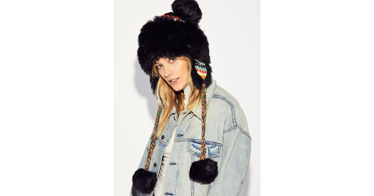 Free People Melt My Heart Trapper Hat in Black - Lyst d99e7db9610e