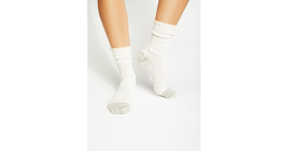 2f269c27c7 Lyst - Free People Melbourne Heathered Crew Socks in White