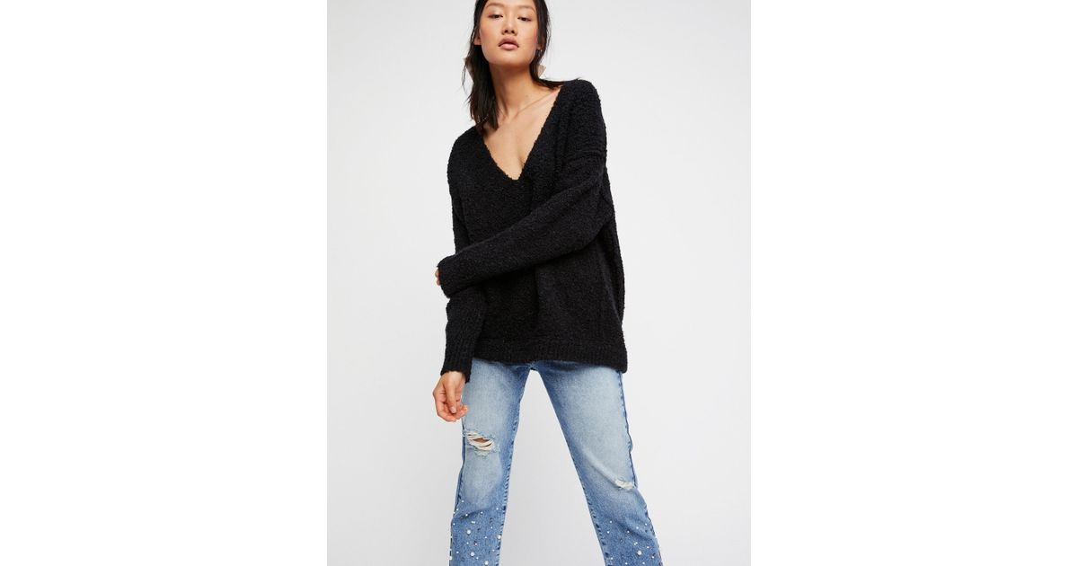 Lyst Free People Lofty V Neck Sweater In Black