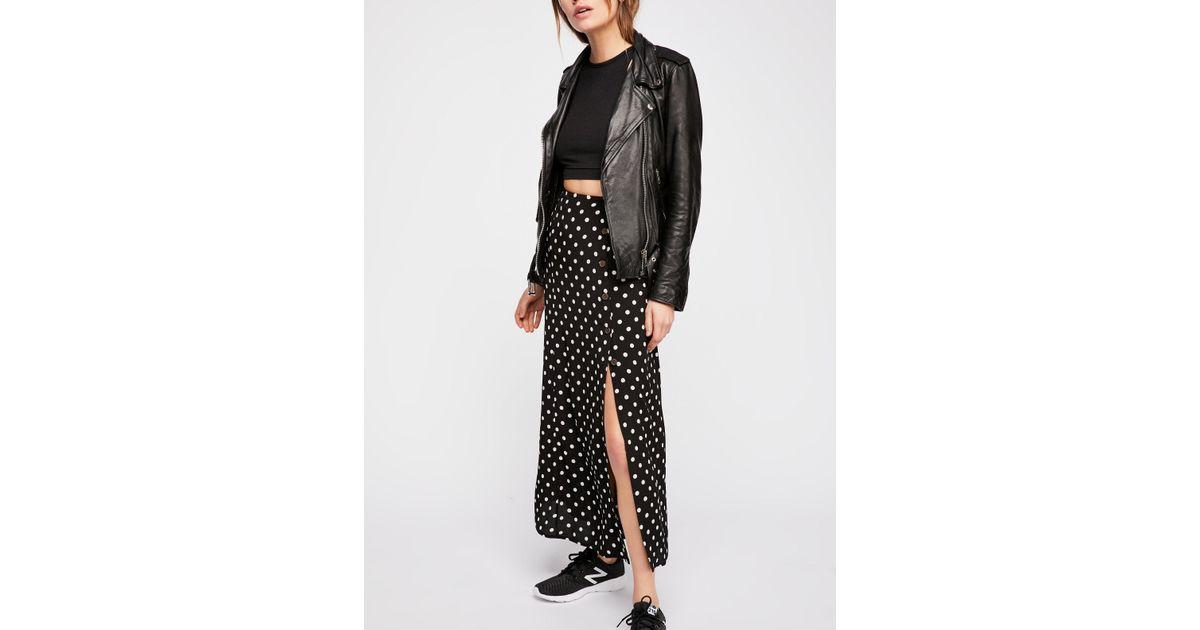 a047d7391e Free People Retro Love Midi Skirt in Black - Lyst