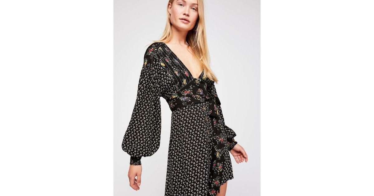 585a141815fc Free People Wonderland Printed Mini Dress in Black - Lyst