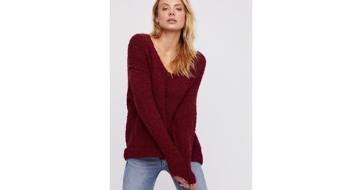 Lyst Free People Clothes Sweaters Lofty V Neck Sweater In Red