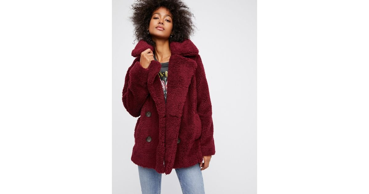 30e1fa8fcd01 Lyst - Free People Teddy Peacoat in Red