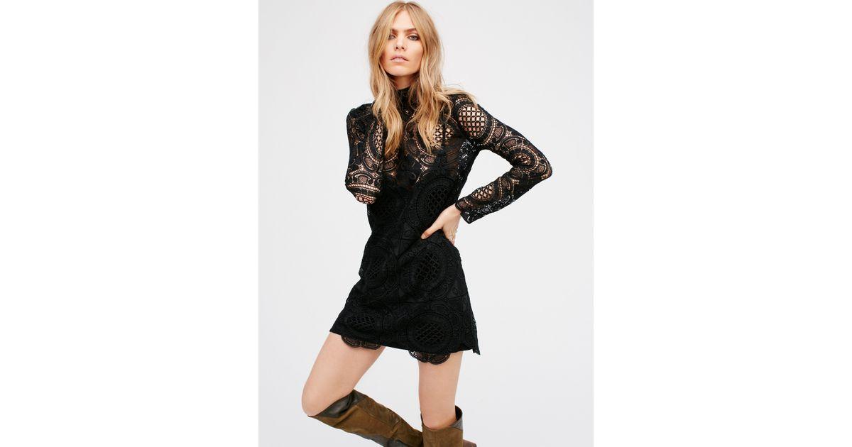 65cda7ddf28e Free People Ibiza Lace Dress in Black - Lyst