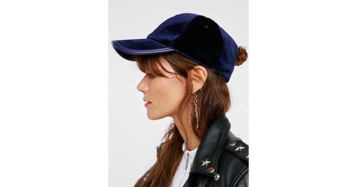 dac74a75c83 Lyst - Free People Lady Luck Velvet Baseball Hat in Black