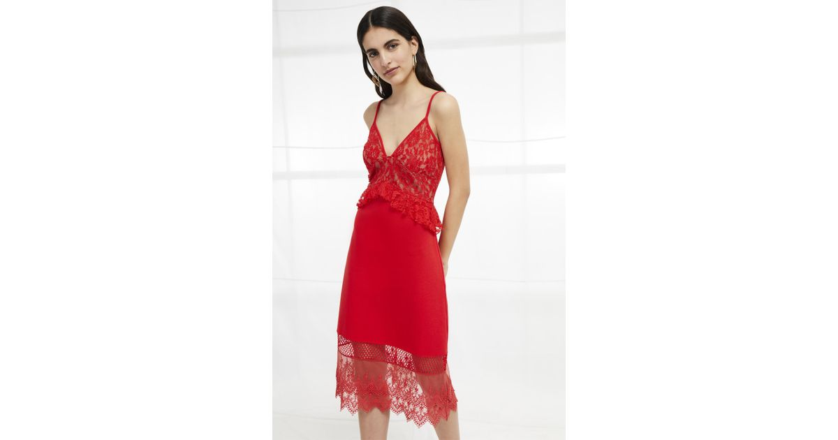 68769cea2b2 Lyst - French Connection Delos Lucky Layer Strappy Dress in Red