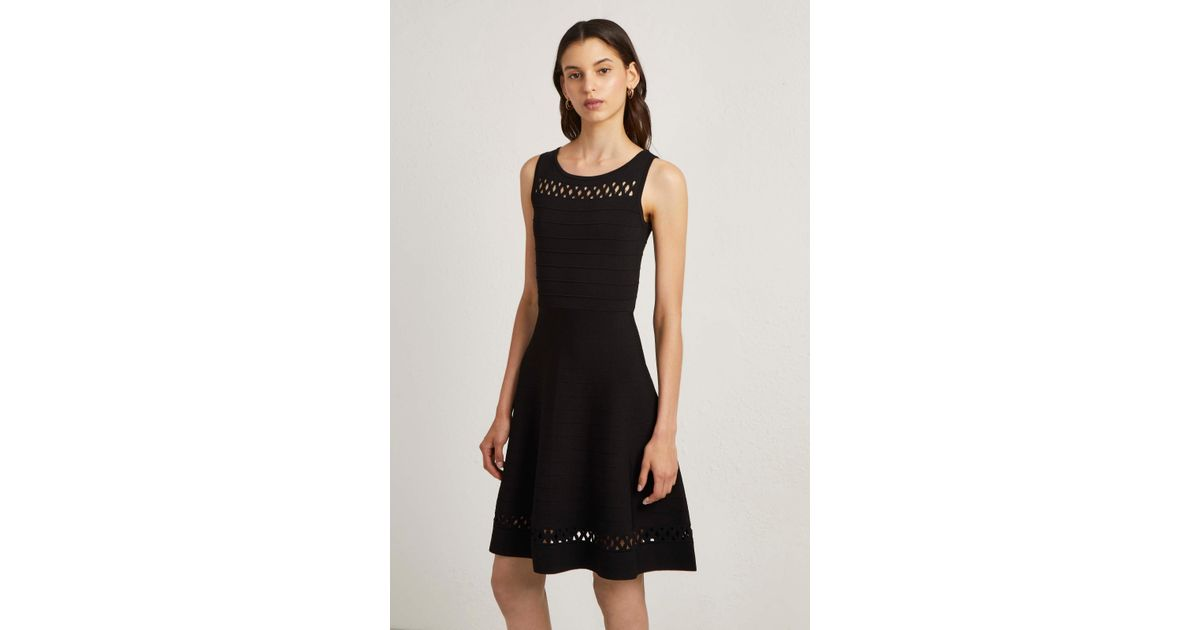 b0c15f557f9 Lyst - French Connection Kai Crepe Knit Fit And Flare Dress in Black