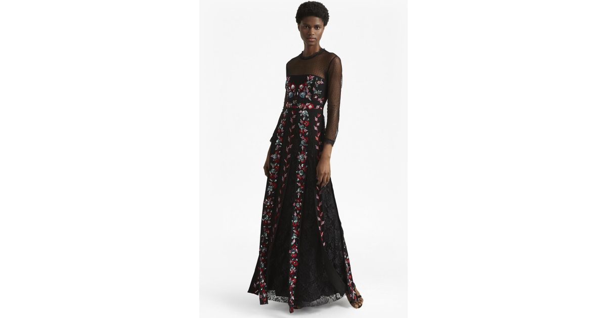 c1e1c63a12f French Connection Edith Floral Long Sleeved Maxi Dress in Black - Lyst