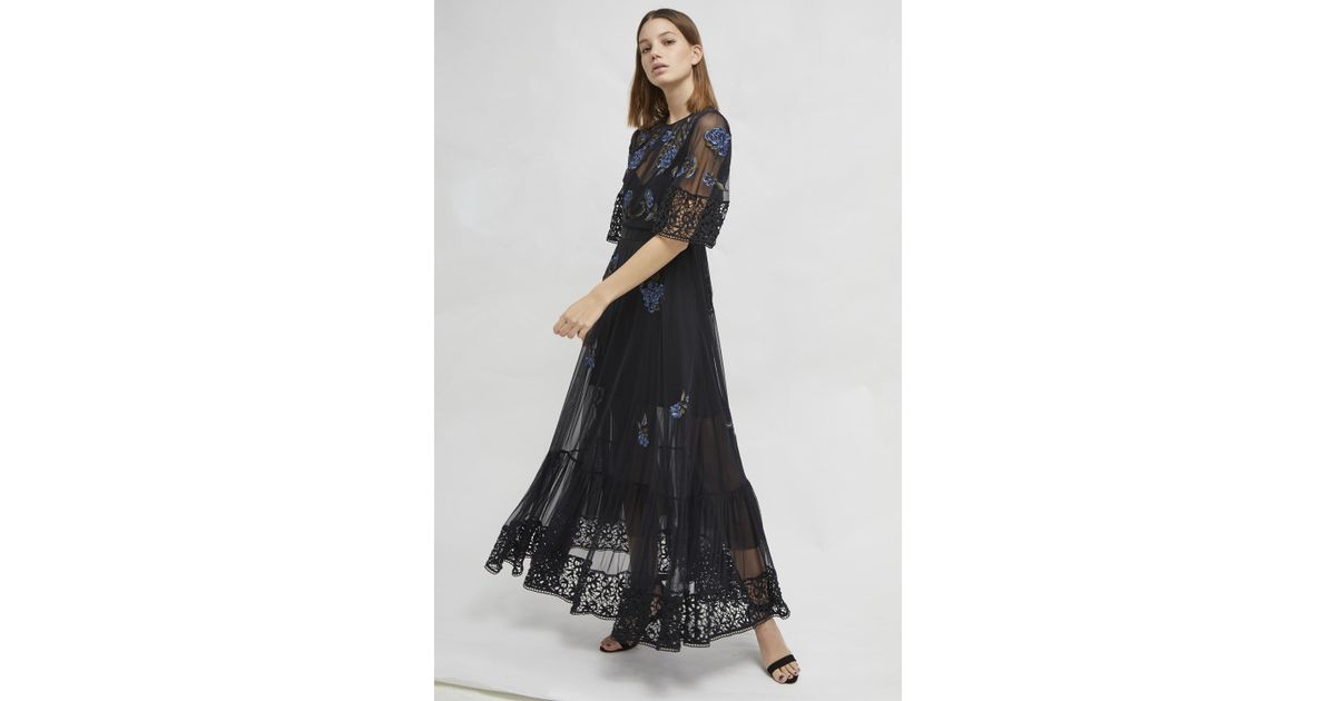 c097f72217f French Connection Ambre Floral Embroidered Mesh Dress in Black - Save 24% -  Lyst