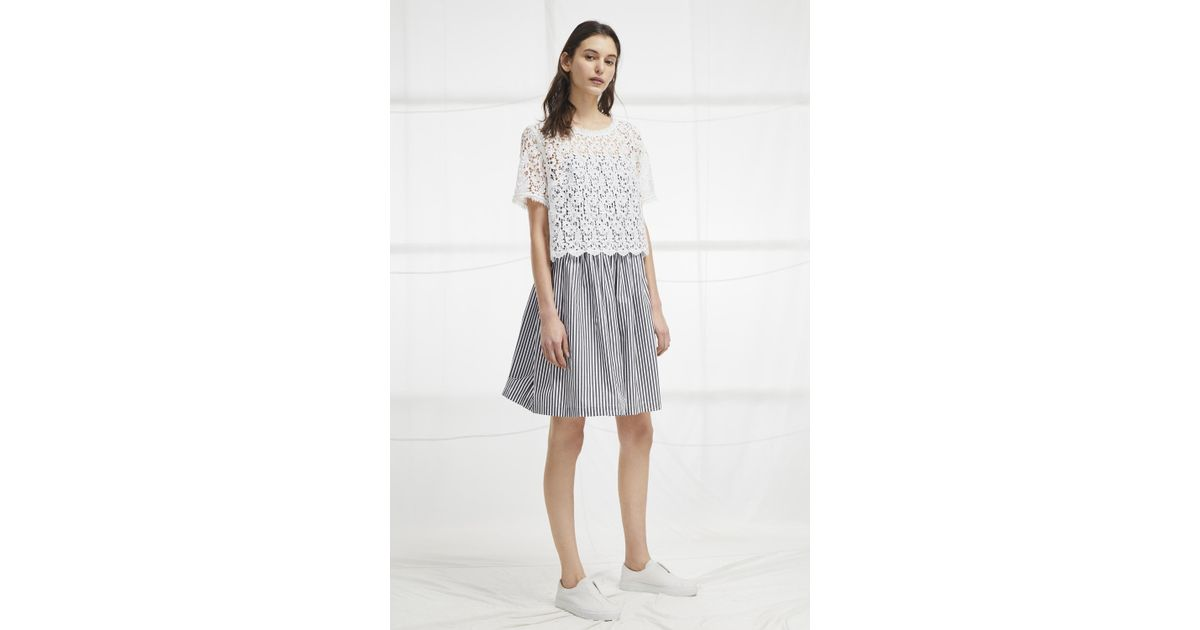 a1cc835981c4 French Connection Sardinia Stripe Lace Tea Dress in White - Lyst