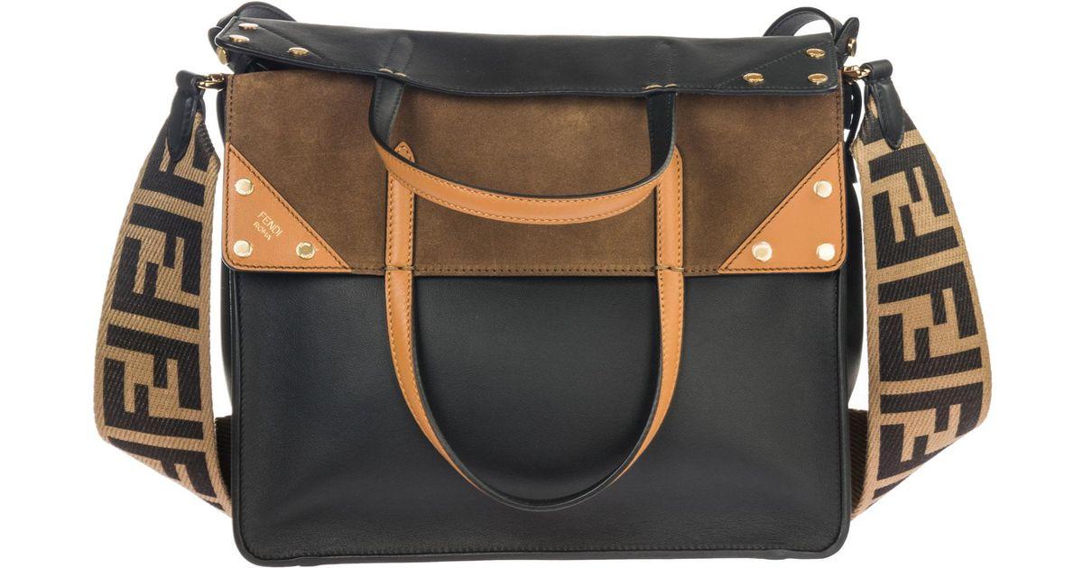 65431ab666be Lyst - Fendi Handbag Shopping Bag Purse Tote In Pelle Flip Large in Black