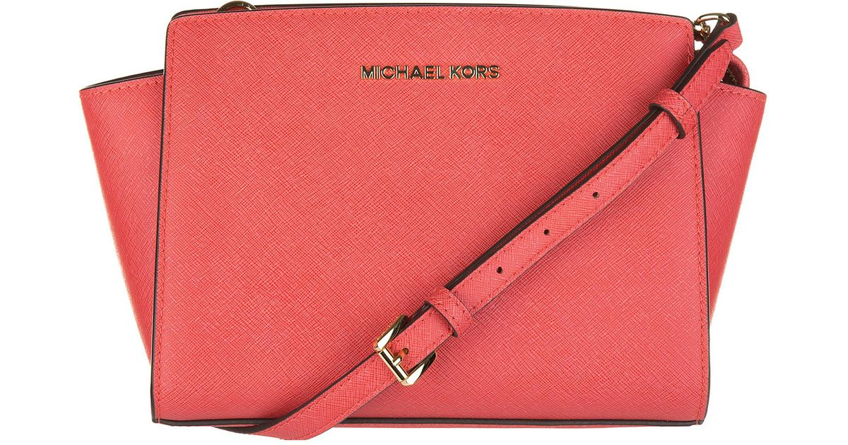 f2d3fdc1e61d46 ... denmark michael kors leather cross body messenger shoulder bag selma in  pink lyst 3dc14 2ea84