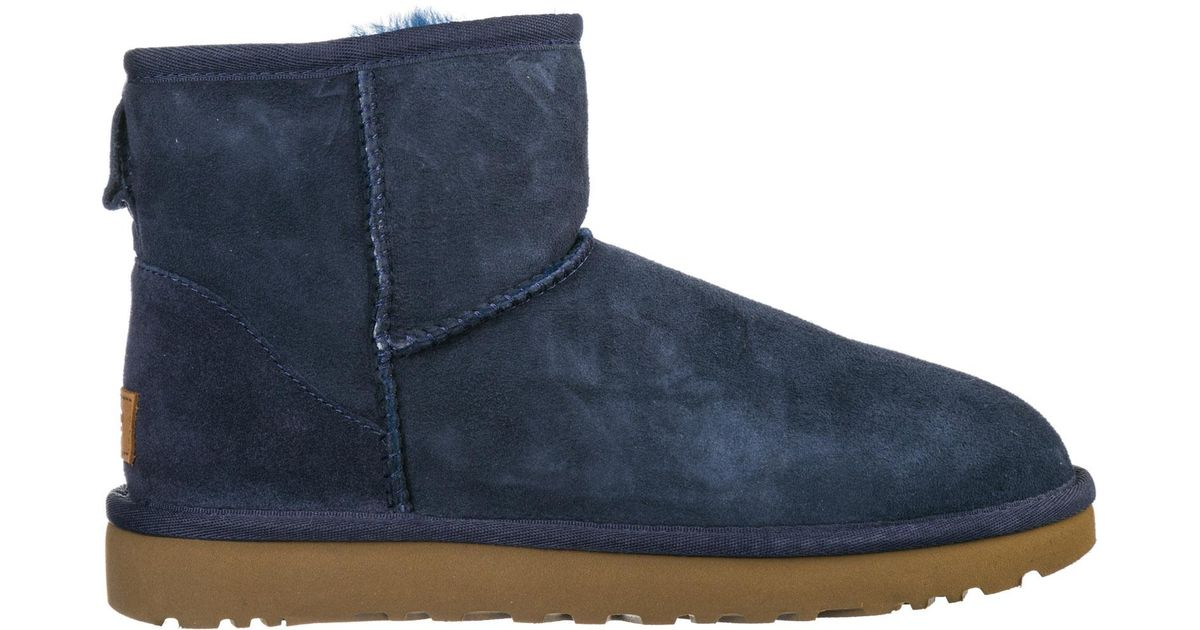 3b04d658cd5 Ugg - Blue Suede Ankle Boots Booties Classic Mini Ii - Lyst