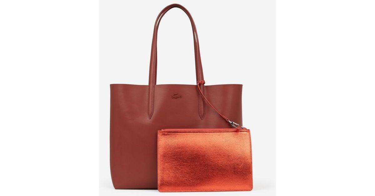 3f4796f3b4 Sac shopping Anna réversible en cuir Lacoste en coloris Rouge - Lyst
