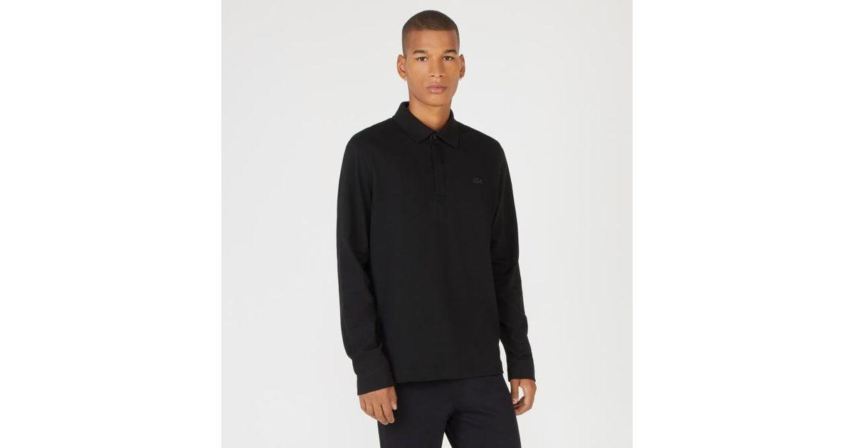 65e71bff526 Lyst - Polo droit en coton piqué à manches longues Lacoste pour homme en  coloris Noir
