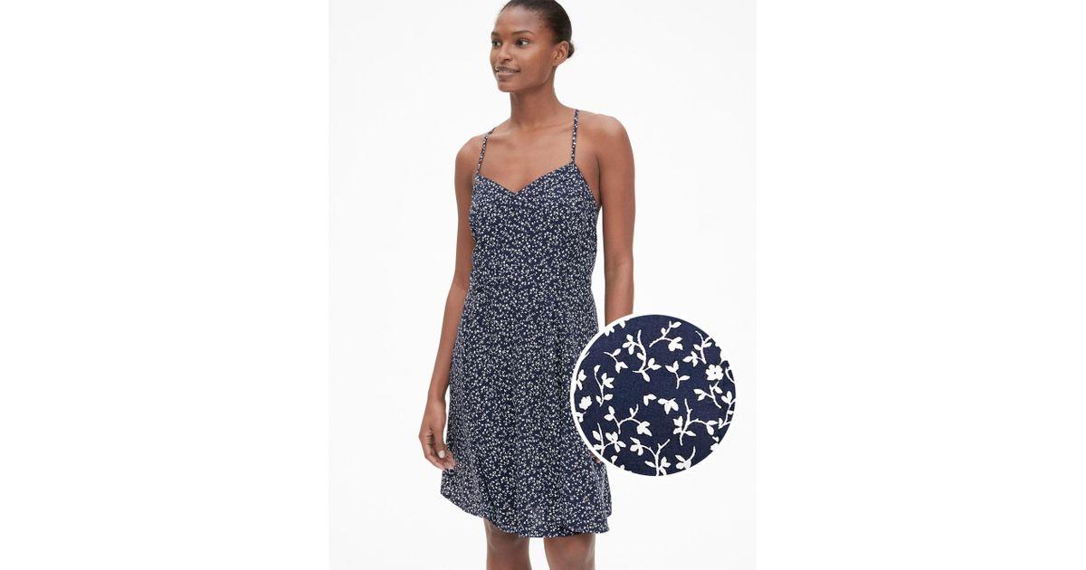 a3e22c4322dde Gap - Blue Floral Print Fit And Flare Cami Dress - Lyst