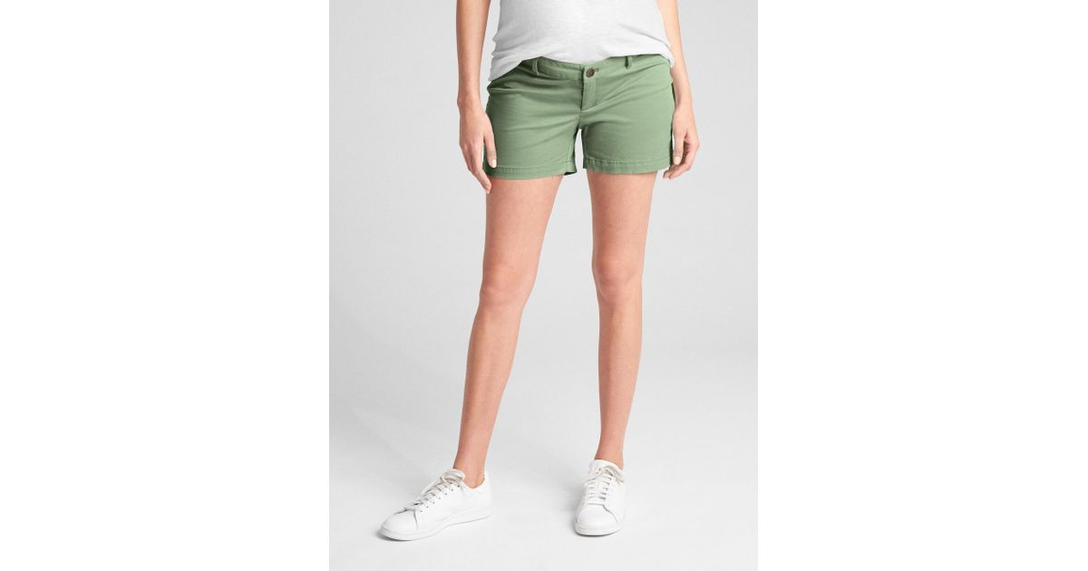 1d40fa9de4d1 Lyst - Gap Maternity Inset Panel Summer Shorts In Stretch Twill in Green