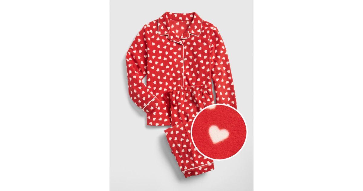 c388d038869b Lyst - Gap Heart Pj Set In Fleece in Red