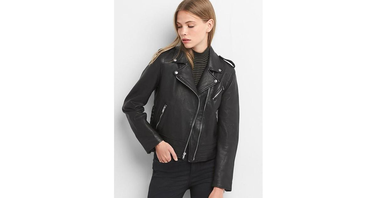 Lyst Gap Side Tie Leather Jacket In Black