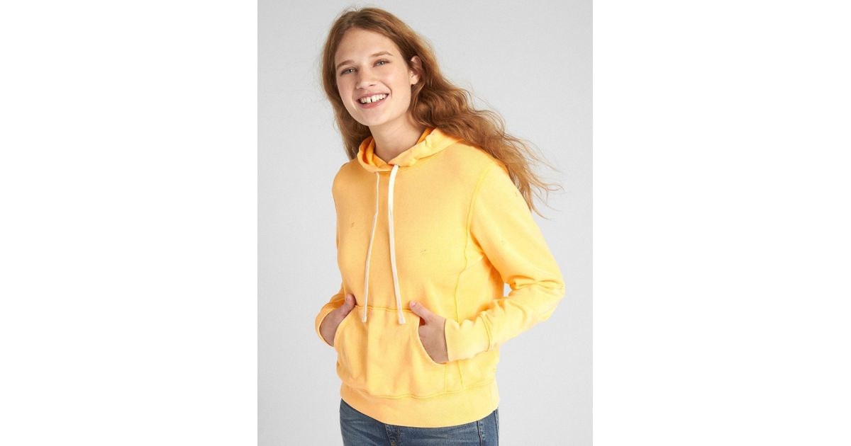 64f21f96 Gap Vintage Soft Pullover Hoodie in Yellow - Lyst