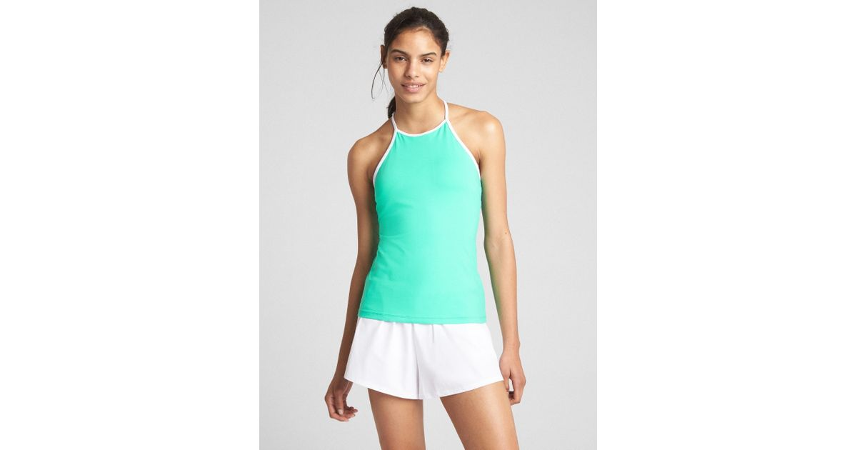 c321976b8d42a Lyst - Gap Fit High-neck Tennis Shelf Tank Top in Green