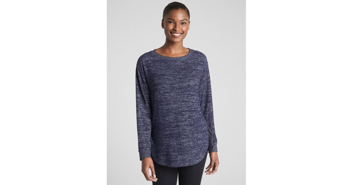 ab0bcc86 Lyst - Gap Softspun Long Sleeve Lace-up Tunic in Blue