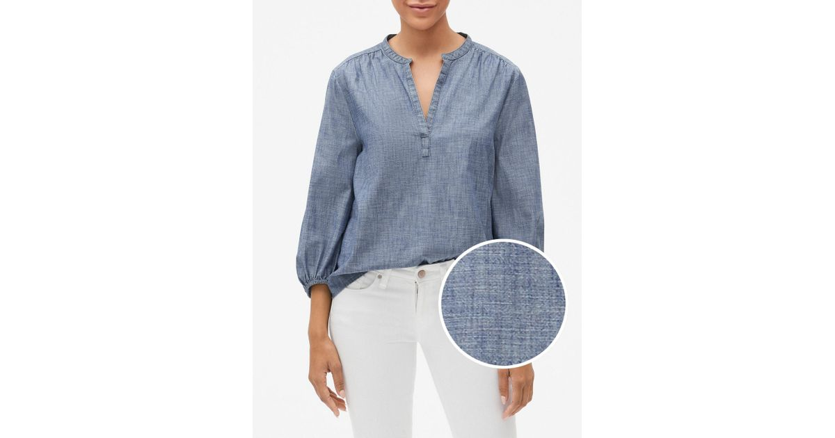 88d24bf2b5 Lyst - GAP Factory Chambray Split-neck Popover Shirt in Blue