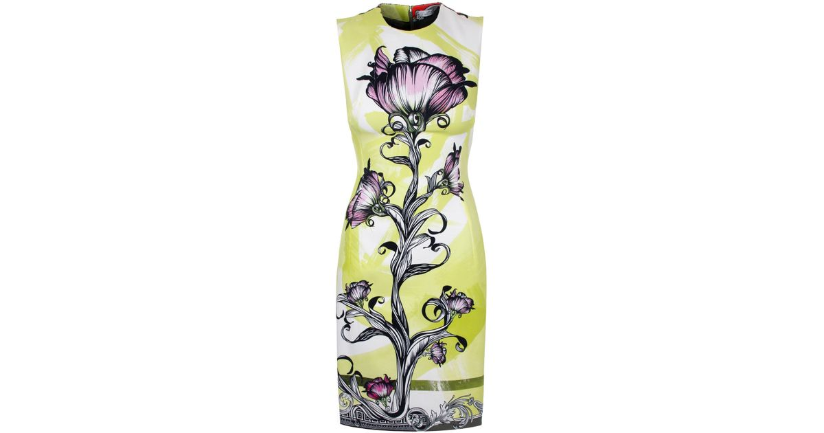 a05be4e2052 Versace Floral Baroque Shift Dress Lime - Lyst
