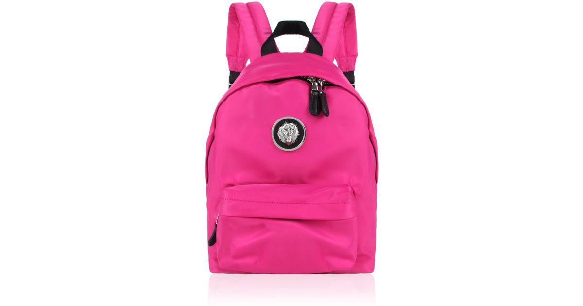 a1208b15868c Lyst - Versus Nylon Lion Head Backpack Fuchsia nickel in Pink