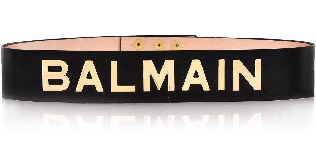 30384d8dc3 Balmain Leather Waist Belt With Logo Black/gold in Black - Lyst