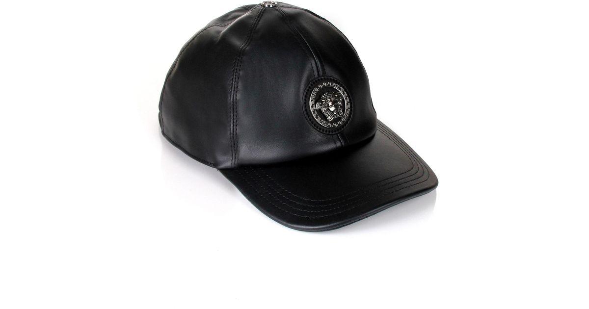 ... greece versace medusa leather cap black in black for men lyst b151b  364bd 563f278eab06