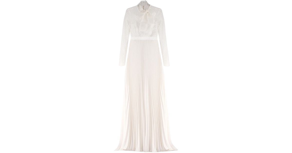 2541da431a4f Lyst - Self-Portrait Long Sleeve Gown With Pleated Skirt Off White in White