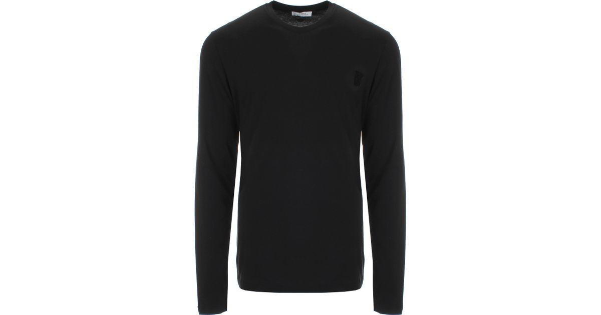 32444013 Lyst - Versace Half Medusa Logo Long Sleeve T-shirt Black in Black for Men