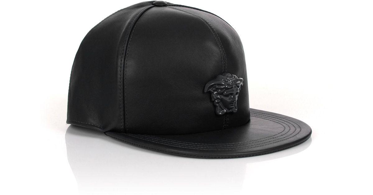 Lyst - Versace Medusa Logo Leather Show Cap Black black in Black for Men 9115e0f4edd