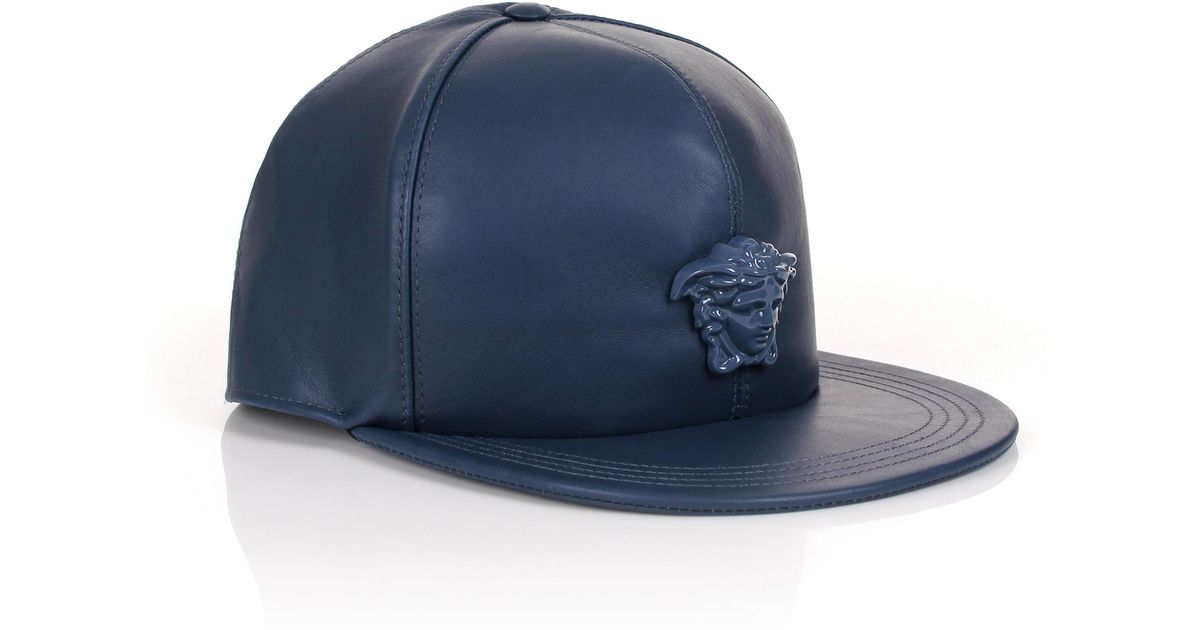 d2a6b025 Versace Medusa Logo Leather Show Cap Navy/navy in Blue for Men - Lyst