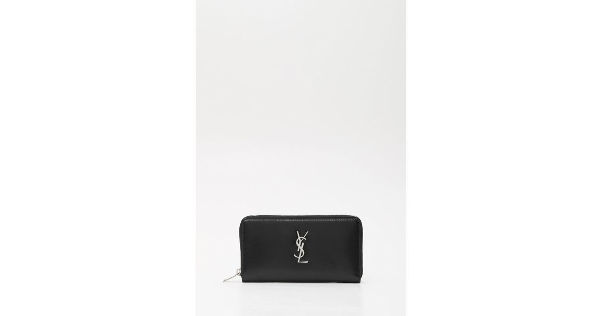 0ccca160da36 Lyst - Saint Laurent Large Ysl Monogram Leather Coin Zip Wallet in Black  for Men