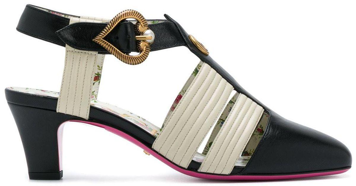 2c0a9d9e465 Lyst - Gucci Mid-heel T-strap Sandals