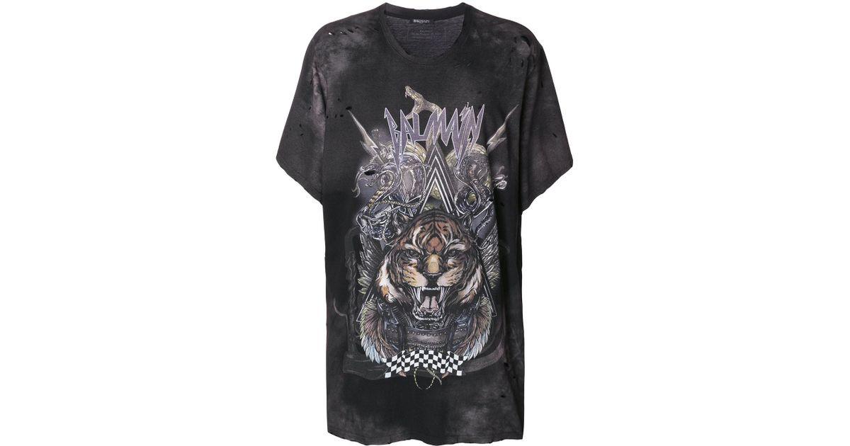a4a9c03f9 Balmain Oversized Tiger Print T-shirt in Black for Men - Lyst