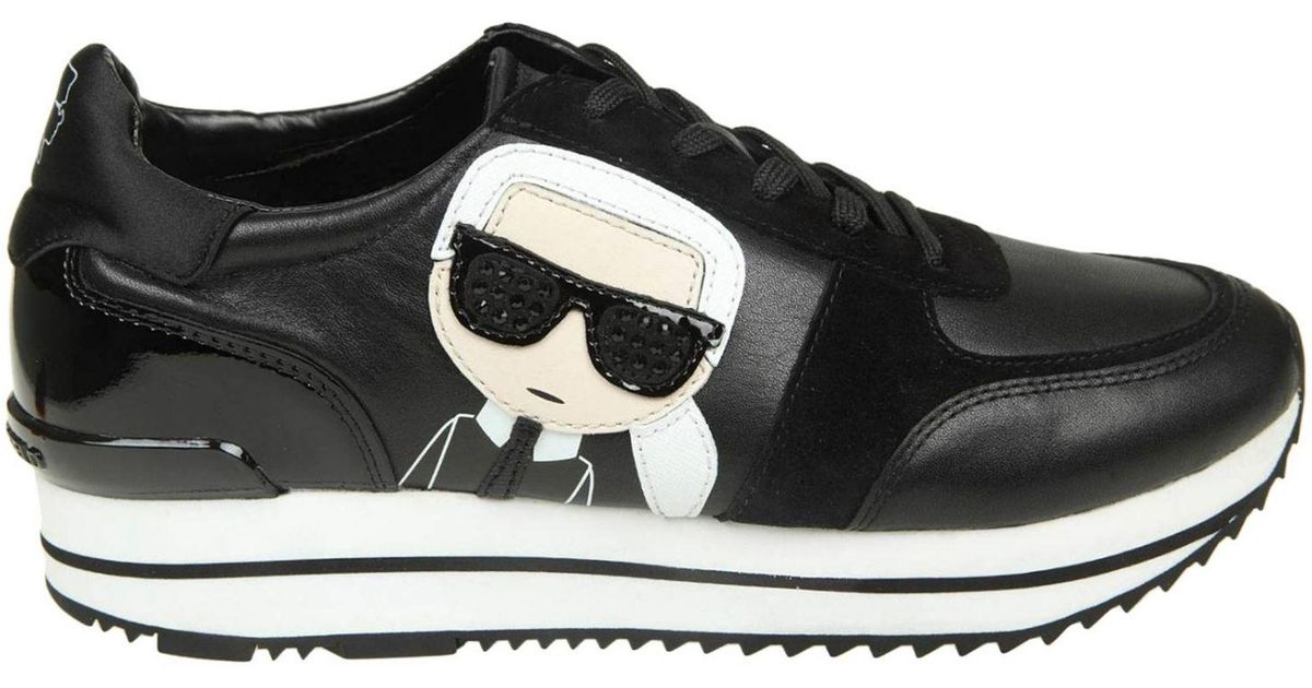 1297b19658a1 Lyst - Karl Lagerfeld Velocita Ii Leather suede Karl Ikonic Meteor Lace  Runner Trainers in Black