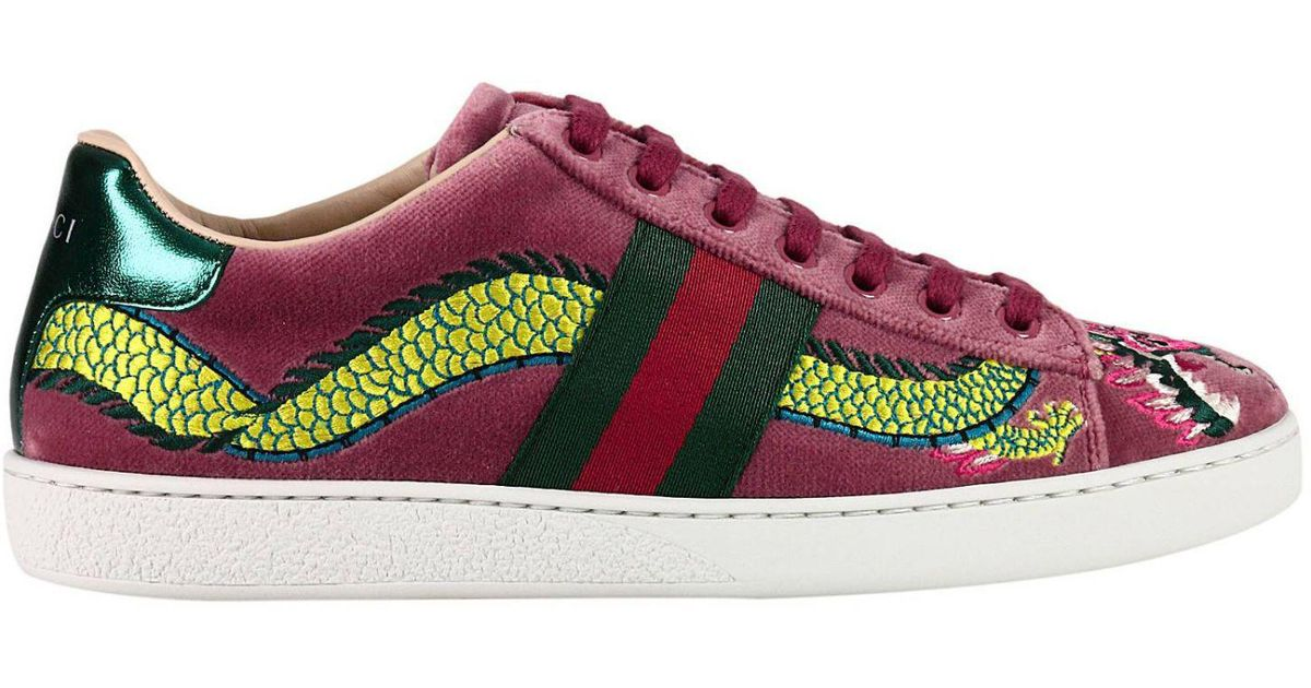 4a1e732fe Gucci Velvet New Ace Sneaker With Side Web Bands And Dragon Embroidery in  Pink - Lyst