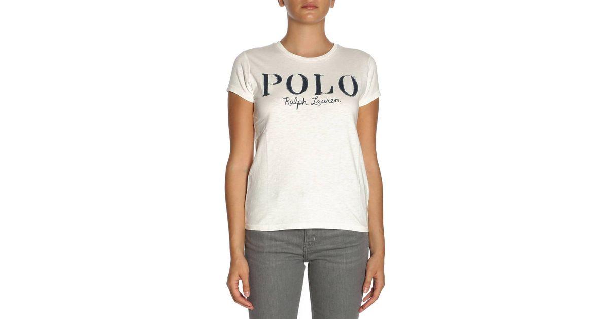 Polo Ralph Lauren T-shirt Women in White - Lyst 7f2b3dc841d6