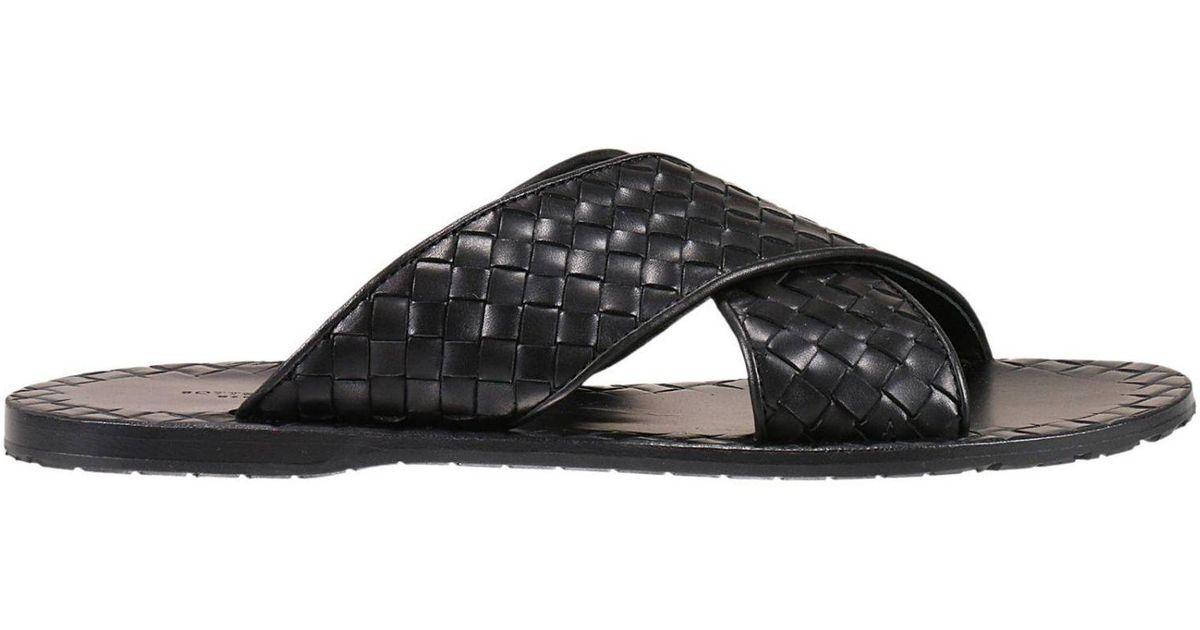 10443be58e67 Bottega Veneta Sandals Shoes Man in Black for Men - Lyst